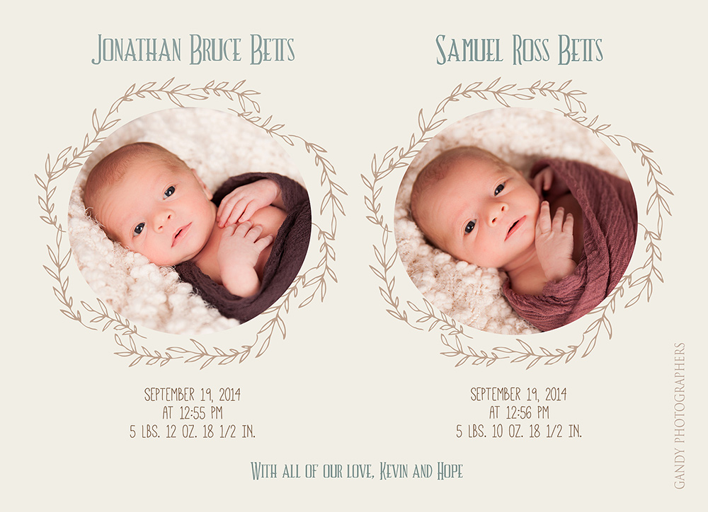 Newborn Twins Birth Announcement – Birth Announcement for Twins
